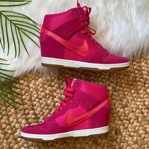 Nike Sky Hi Dunk Mesh Pink Force Wedge Sneakers